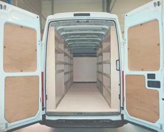 habillage bois en contreplaqué portes arriere vehicule utilitaire